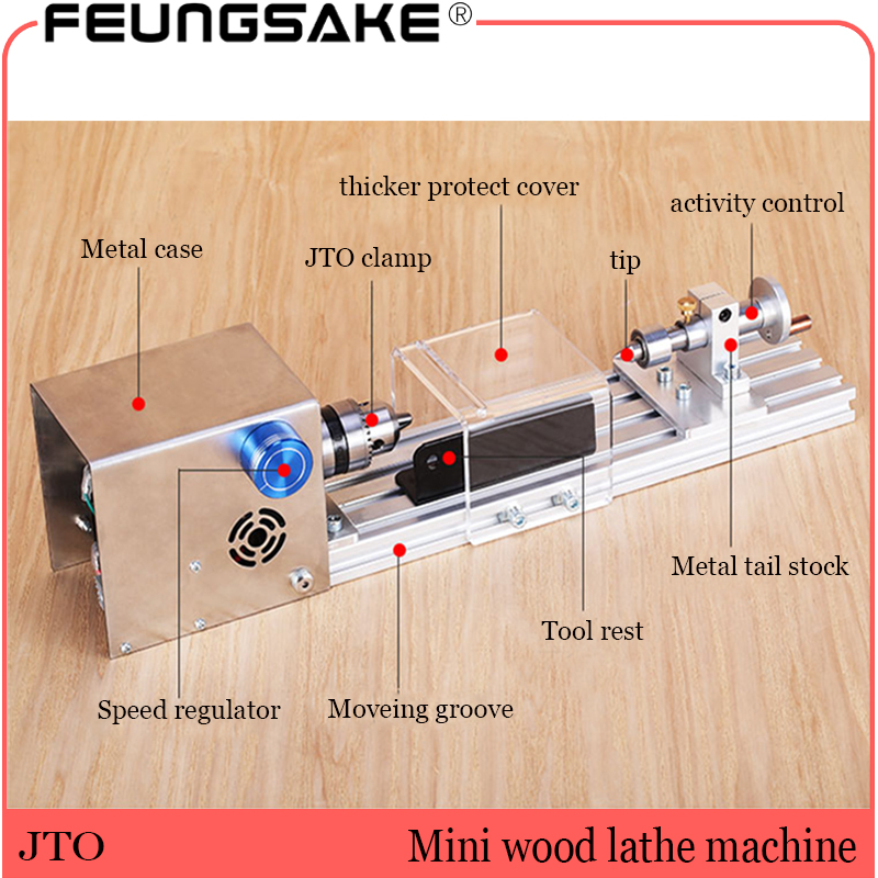 JTO 6.5mm Clamp DIY Wood Lathe Mini Lathe Machine Polisher Table Saw For Polishing Cutting,metal Mini Lathe/didactical DIY Lathe