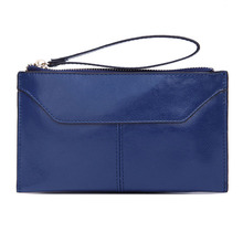 Blue Minimalist Stylish Lady Genuine Leather Zipper Wallet Women Long Purse Girl Clutch Bag Girl Soft Handy Pouch