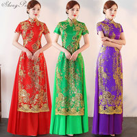 2018 New Ao Dai cheongsam folk style vietnam chiffon Printing Women Chinese Traditional Dress V888