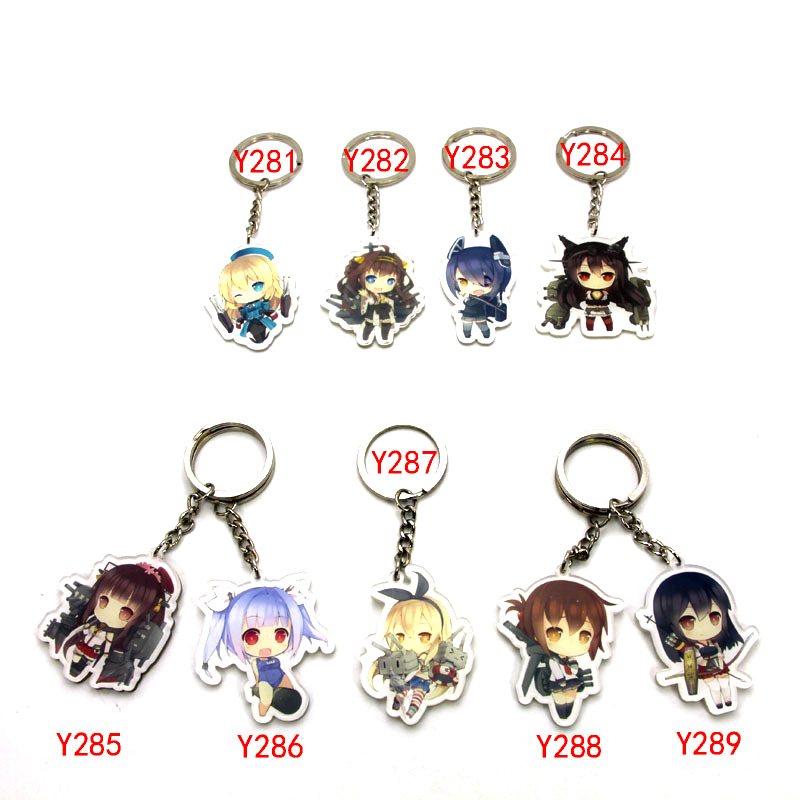 9pcs/set Anime Keychain Kantai Collection KanColle Nagato Nette Shigure Amatsukaze Naka Puppe Keyring Pendant Warship ...
