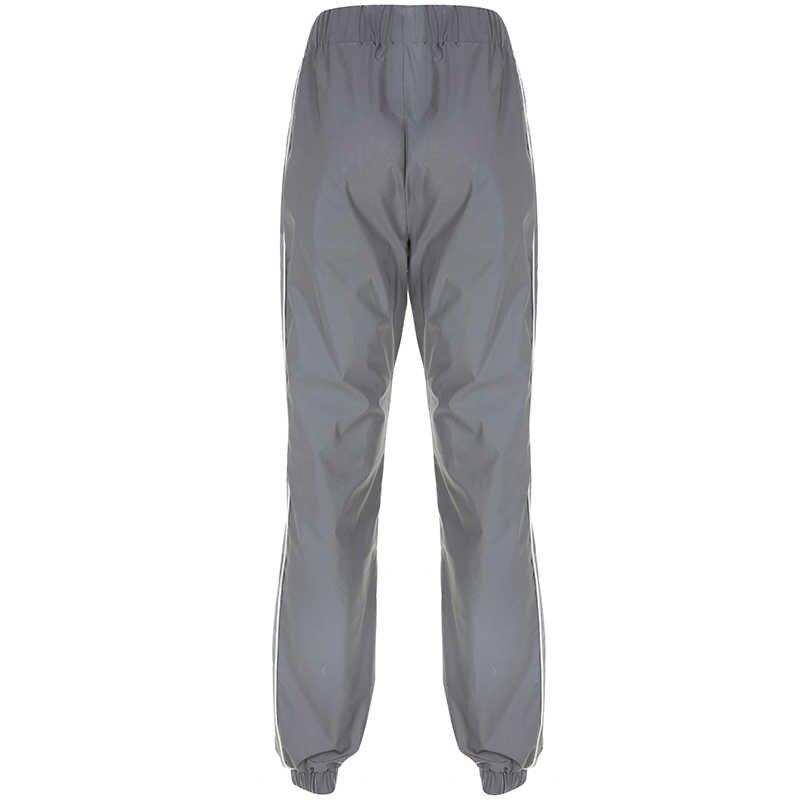 HEYounGIRL Харадзюку хип-хоп Светоотражающие Брюки эластичные брюки с высокой талией женские брюки для бега Свободные повседневные спортивные штаны уличная летняя одежда