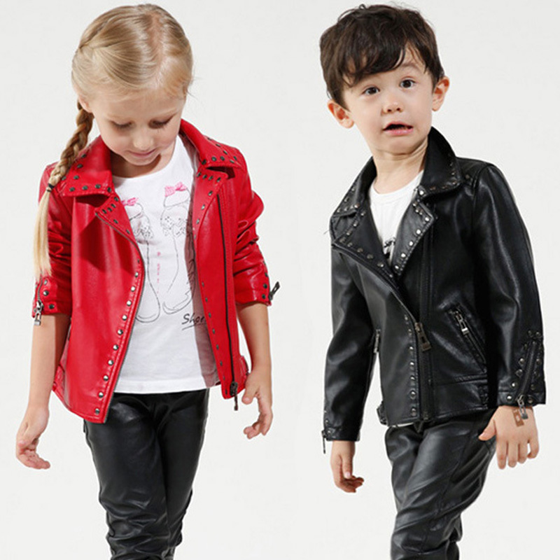 Hurave Kids Autumn Outwear Winter Girls Coats Jackets Boys PU Leather Rivet Jacket Fashion Turn-down Collar Children Outerwear недорого