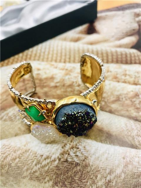 Livraison gratuite griffe exagérée cuivre avec bracelet en pierre bracelets - 4
