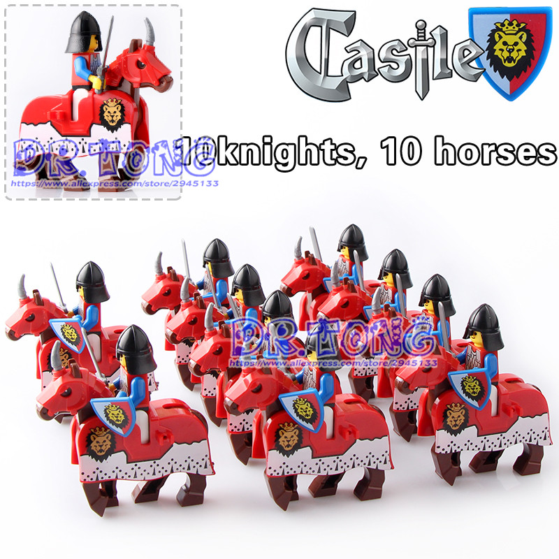 DR.TONG 20pcs/lot Knights War Red Lion Horse Knights King with Heavy Armor Medieval Rome Knights Horse Building Blocks Toys Gift medieval  total war  gold edition [pc