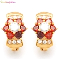 Yunkingdom Gold Plated red  Flower Cubic zirconia Hoop Earrings For Children Girls Baby Anti-Allergic  Jewelry K1469