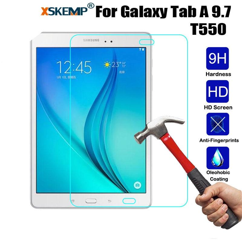 Xskemp 9 H Настоящее закаленное Стекло для Samsung Galaxy Tab 9.7 T550 T551 T555 0.3 мм анти-shatter глянцевая Планшеты Экран протектор Плёнки