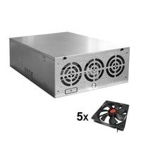 Crypto Coin Open Air Mining Frame Rig Graphics Case ATX Fit 6/8 GPU Ethereum ETH ETC ZEC XMR Magnalium Alloy 5 Fans