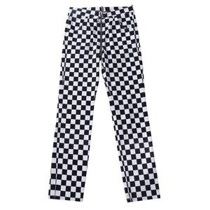 Image 5 - InstaHot Pantalones rectos a cuadros con cremallera para mujer, pantalón largo informal con bolsillos ajustados, a la moda, color blanco y negro