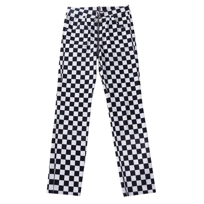 InstaHot Plaid Zipper Checkered Straight Pants Women Fashion Casual Slim Pockets Long Pants Black White Pencil Pantalon Femme in Pants amp Capris from Women 39 s Clothing