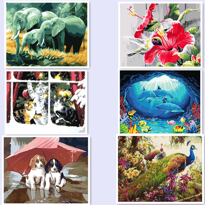 Animals DIY Painting By Numbers Europe Handpainted Oil Painting On Canvas For Home Wall Art Picture shark dog cat Elephant BM35