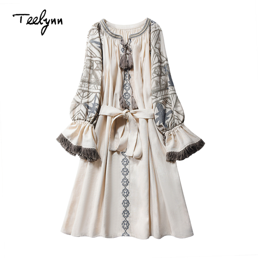 TEELYNN cotton linen boho dress ethnic floral embroidery fringe long sleeve mini dress Ukraine short dresses