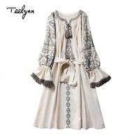 TEELYNN cotton & linen boho dress ethnic floral embroidery fringe long sleeve mini dress Ukraine short dresses for women vestido