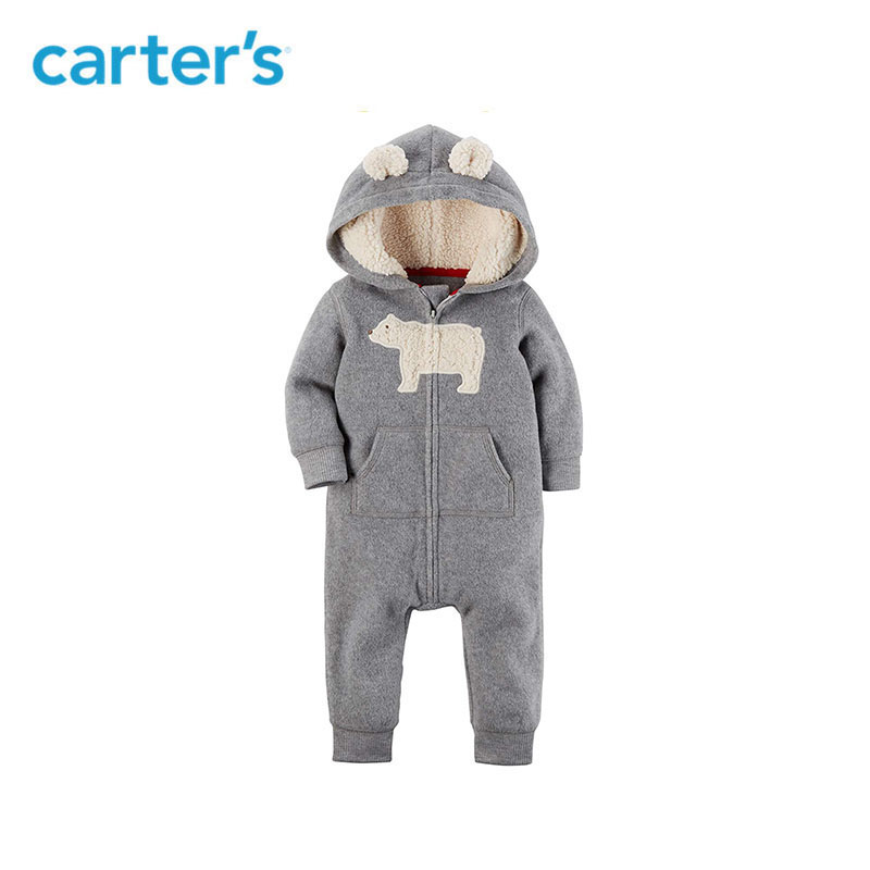 3f3232afcf03 Carters baby rompers cute ear hooded fleece jumpsuit baby girl ...