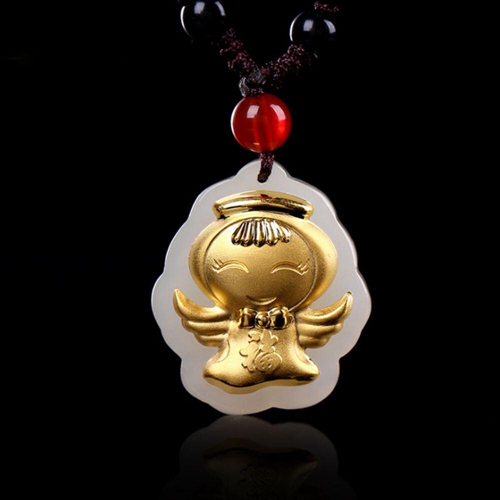 Children Pendants Gold Necklace Natural Jade Cherub Angel Pendant Necklace Lucky Jade Jewelry for Girl Kids long yi taishan jade rat necklace body wangcai anti villain 8000386