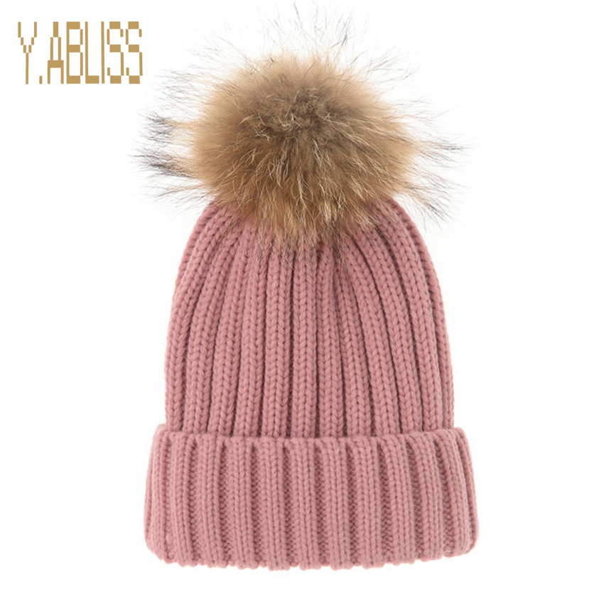 Autumn Hats for Women Acrylic Wool Women's Knitted Cap Skullies Gorros Casual Beanie Hat with Raccoon Fur Pompom unisex 1d one direction letter hats gorros bonnets winter cap skullies beanie female hihop knitted hat toucas with pompom ball