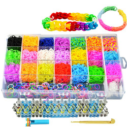 Rainbow Elastic loom bracelet Band Kits Craft Toy with Weaving Machine Rubber Band Ribbon Knitted Figures Charms Craft 4600pcs