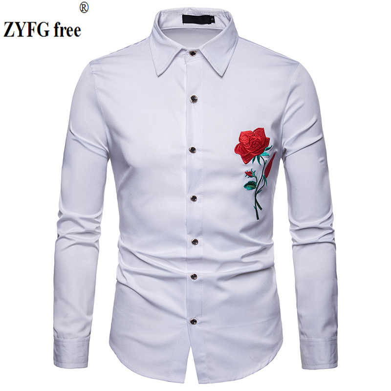 2019 Lente Mannen Shirts Slim Fit Fashion lange bloem Mouwen borduren Shirt Heren Kleding Trend mannen Casual knappe shirts