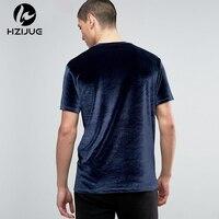 HZIJUE 2018 yeni geliş erkekler moda tişörtleri O-Boyun Kadife Kumaş üstleri gevşek tarzı katı yaz Kadife Kanye Swag Erkek T-shirt