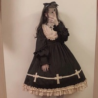 Gothic palace sweet lolita dress vintage lace o neck cross thickening victorian dress kawaii girl gothic lolita op loli cosplay