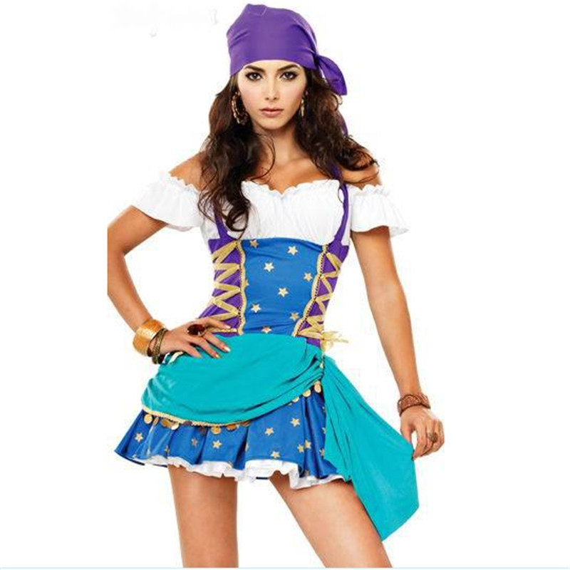 2017 new Sexy blue Pirate Dress Female Pirate Cosplay Costumes Party Game  clothes Somali pirates Costume Halloween for women -in Movie & TV costumes