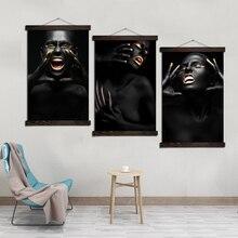 дешево!  Черная зудящая Девушка Wall Art Одиночные Отпечатки На Холсте Живопись Рамка Прокрутки Живопись  Лучший!