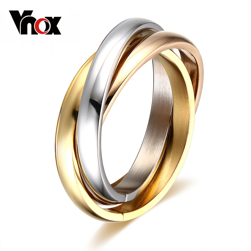 Vnox classic 3 rounds ring sets for women stainless steel for Classic 3