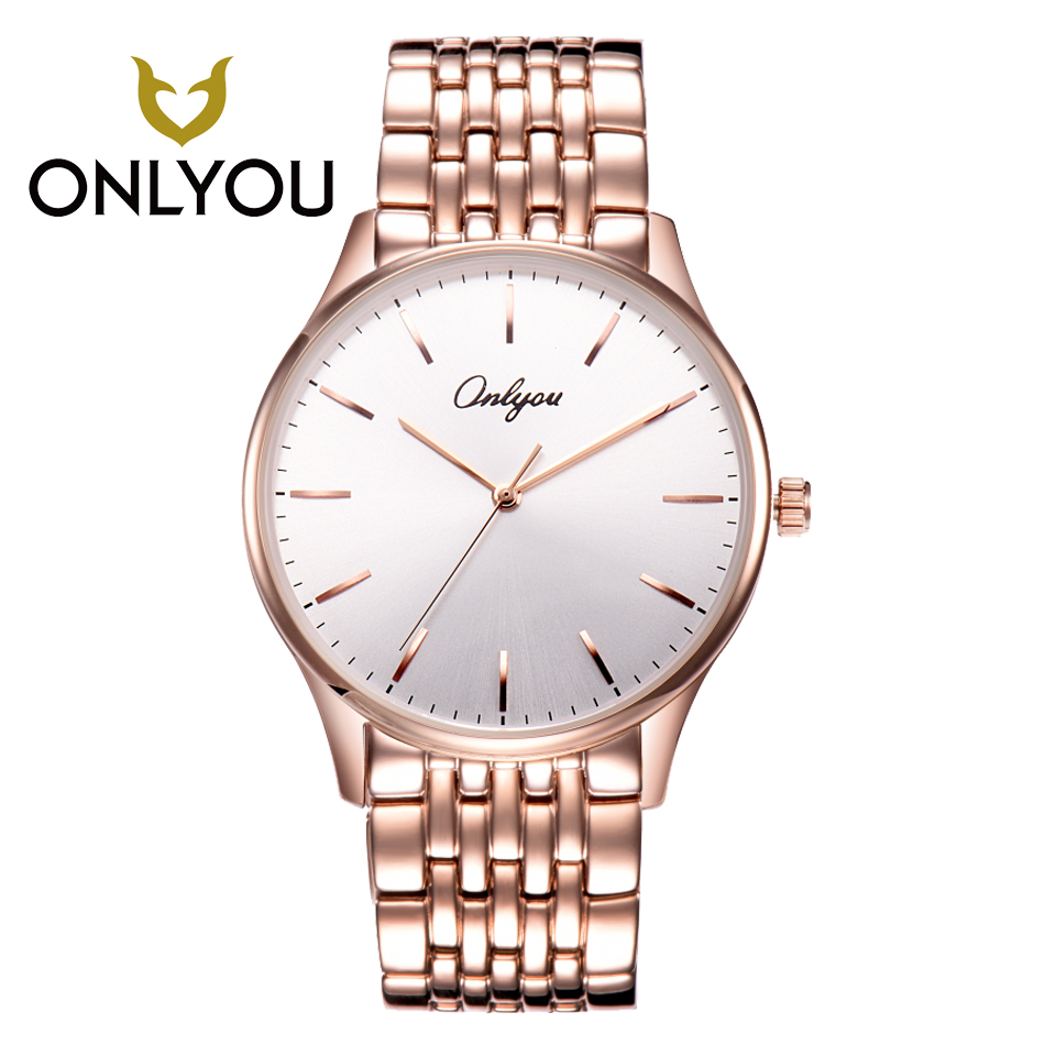 ONLYOU Lover Watch Rose Gold Men Watches Top Brand Luxury Business Causal Stainless Steel Band Ladies Watches Relogio FemininoONLYOU Lover Watch Rose Gold Men Watches Top Brand Luxury Business Causal Stainless Steel Band Ladies Watches Relogio Feminino
