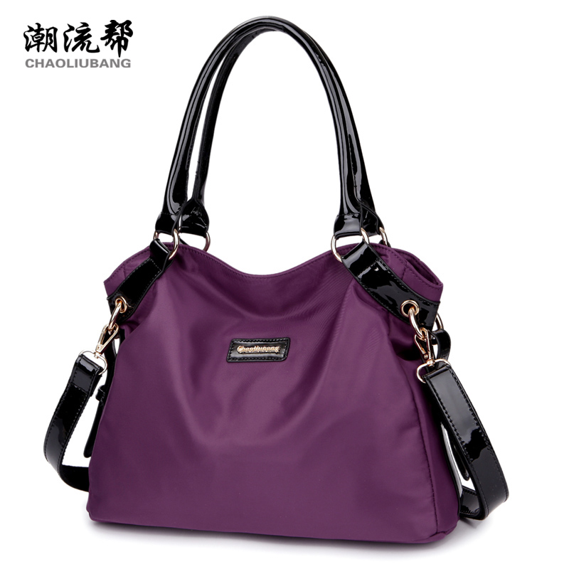 Women's handbag vintage purple waterproof nylon oxford fabric travel tote shoulder bag ladies women Messenger Bag Crossbody Bags
