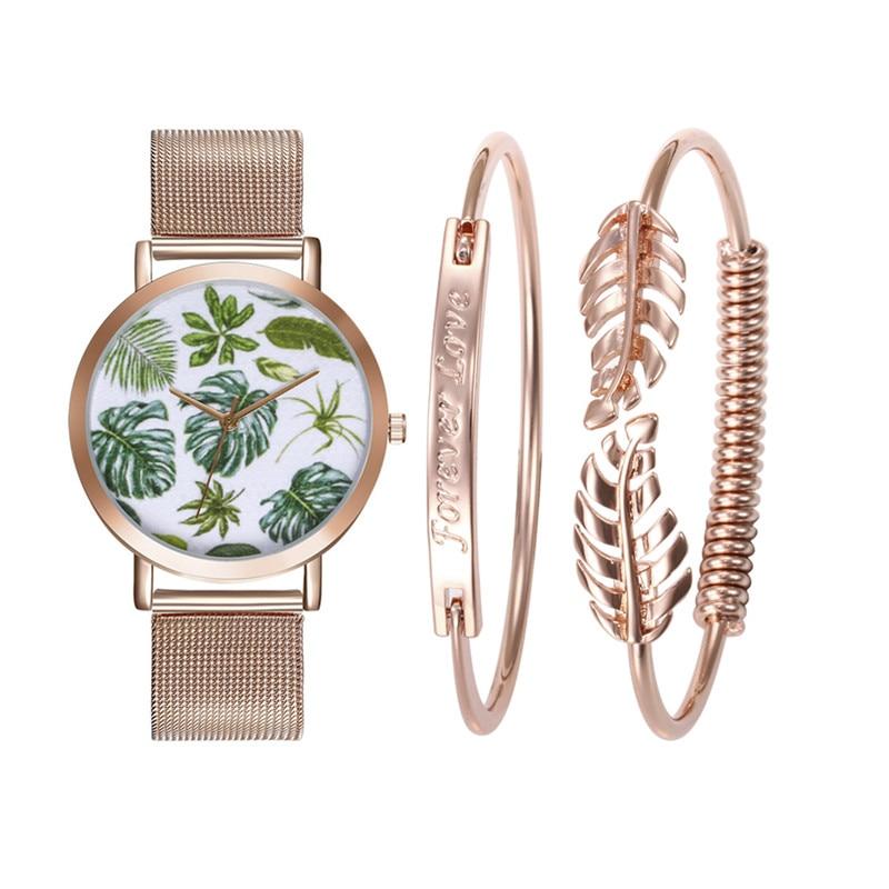 LASPERAL Bracelet Quartz Watch Jewelry Set Brand Women Tropical Leaves Female Wristwatch Men Dress Clock Bangle Relojes Feminino tropical leaves print tapestry