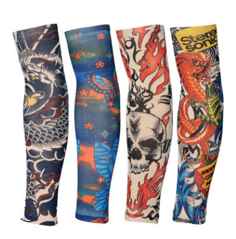 Punk Tattoo Sleeve Anti-sunshine Cool Fashion Men Women Tattoo High Elastic Halloween Party Dance Party Arm Leg Sleeves #8 Men's Accessories Men's Arm Warmers