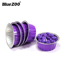 3pcs/set blue Zoo wax beans aluminium foil bowl Lavender purple color round shape 30g capacity Reusable hair removal bowl BZ125