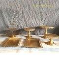 Decoração de casamento carrinho do bolo de ouro conjunto 6 peças conjunto suporte do queque decoração do bolo cozinhar ferramentas bakeware decoração do partido louça