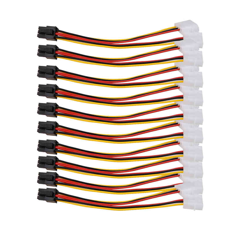 все цены на 10pcs/lot 4 Pin to 6 Pin Molex PCI-E External Graphics Card Power Cable Converter High Quality онлайн