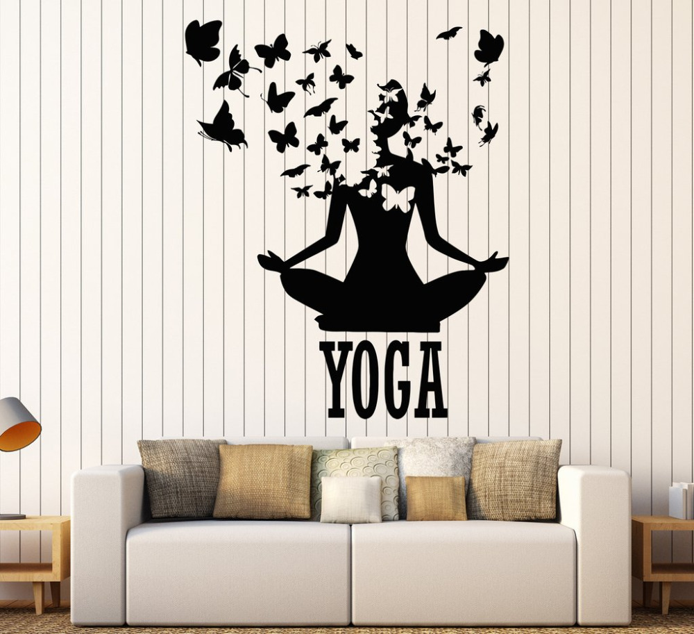 Lotus Meditation Buddhism Vinyl Wall Stickers Decor Yoga Center Pose Sticker Removable
