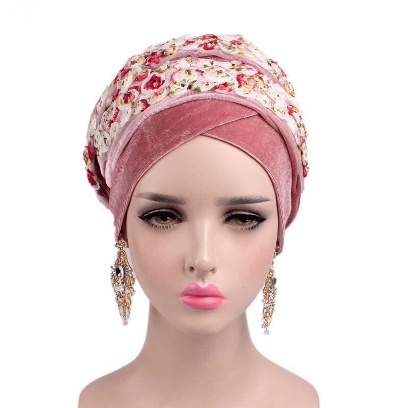 Women New Velvet Floral Turban Long Wrapped Head Scarf Ladies Hijab Cap Muslim Cap Bandana