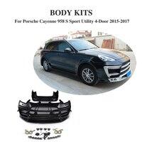 FRP черный грунт тела стиль комплект автомобильные аксессуары для Porsche Cayenne 958 S Sport Utility 4 двери 2015 2017 т Стиль