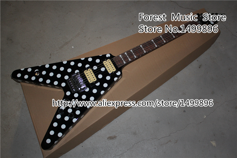 Free Shipping Randy Rhoads Signature Flying V Electric Guitar Polka Dot Finish China OEM Guitar Lefty Available electric guitar new tl guitar oem guitar guitar in china