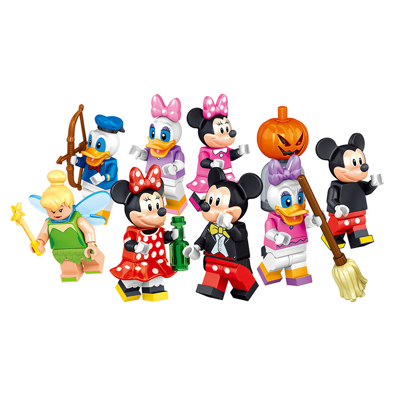 8in1 Building Blocks Brick Donald Duck and Mouse Family Action Figures Compatible LegoINGLYS Cartoon Toys for Children Gifts