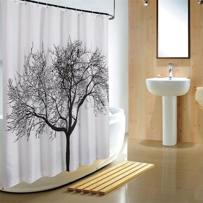 180*180 American Country Style Black Tree Painting Waterproof Bath Shower  Curtain