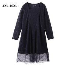 Plus Size 10XL 8XL 6XL 4XL Women Spring Sexy Lace Dress Long Sleeve A-line Lace Elegant Dress Sliming Big Dress For Feminina(China)