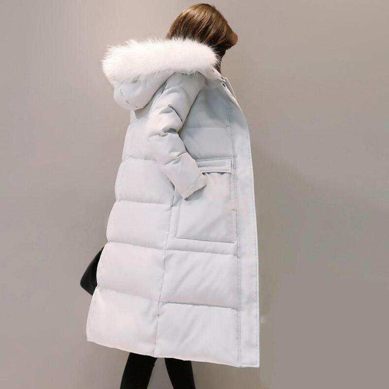 2018 Winter Plus Size 3XL Long Women   Down   Jacket Thicken Warm White Duck   Down     Coat   Winter fashion Hooded Fur collar outerwear