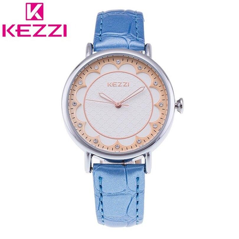 KEZZI Marque Bracelet En Cuir Dames Montre De Mode Simple Strass Femmes  Montres Cinq Sortes Couleurs Horloge À Quartz Femme Montre-Bracelet bed5c95b1703