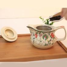 Beautiful Flower and bird pattern ceramic layers insulation Cup Kung Fu tea set with filter tea cups teapot * 1+ teacup * 4
