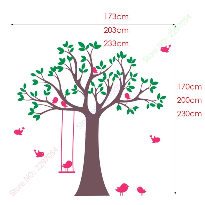 Baby Nursery Tree Wall Sticker Swing Birds Tree Wall Decals for - Home Decor - Photo 5