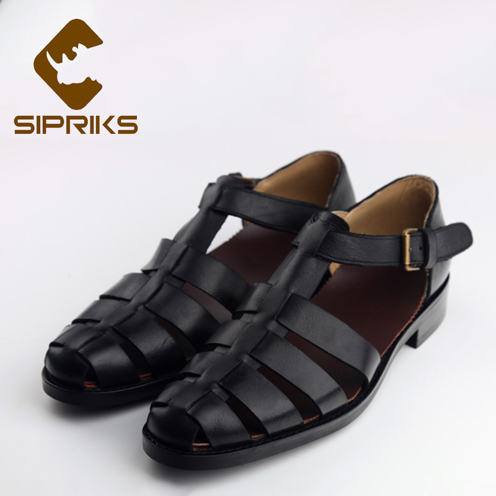 Sipriks Mens Genuine Leather Black Gladiator Sandals For Men Sewing Rubber Sole Buckle Strap Shoes Fashion Rome Style Hollow New