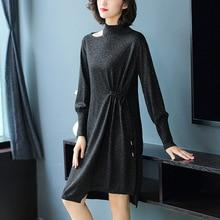 Solis half turtleneck one off shoulder elastic knit sweater dress 2018 new long sleeve women autumn winter loose a line
