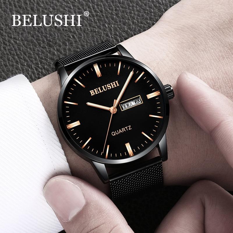 Men Watches Black Steel watch Business Waterproof Quartz Wrist Watch Men Clock Male watch relogio masculino erkek kol saat