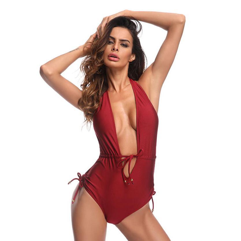 snowshine3 YLI Women One-Piece Swimsuit Beach Swimwear Push-Up Drawstring Straps Bikini Bathing