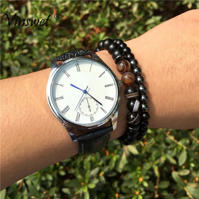 Fashion 2pcs/set Striped Agates Matte Black Onyx Beads Bracelet for Women&Mens Hematite Energy Jewelry Pulseras Masculina