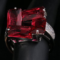 Rosarot Puchsia Red Garnet 925 Sterling Silver Jewelry Ring Size 6 / 7 / 8 / 9 S1678